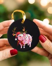 Pig Christmas Circle ornament - single (porcelain) aos-circle-ornament-single-porcelain-lifestyles-08