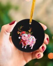 Pig Christmas Circle ornament - single (porcelain) aos-circle-ornament-single-porcelain-lifestyles-09