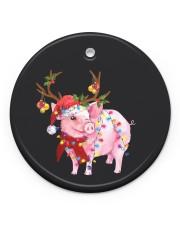 Pig Christmas Circle ornament - single (porcelain) front
