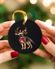 German Shepherd Christmas Circle ornament - single (porcelain) aos-circle-ornament-single-porcelain-lifestyles-08