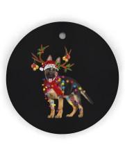 German Shepherd Christmas Circle Ornament (Wood tile