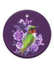 Hummingbird Purple Flower  Circle Ornament (Porcelain) tile
