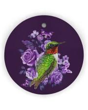 Hummingbird Purple Flower  Circle Ornament (Wood tile