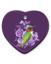 Hummingbird Purple Flower  Heart Ornament (Porcelain) tile