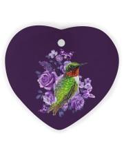 Hummingbird Purple Flower  Heart Ornament (Wood) tile