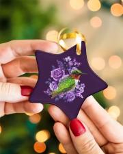 Hummingbird Purple Flower  Star ornament - single (porcelain) aos-star-ornament-single-porcelain-lifestyles-09