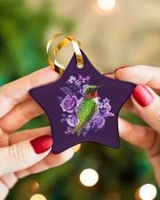 Hummingbird Purple Flower  Star ornament - single (porcelain) aos-star-ornament-single-porcelain-lifestyles-10