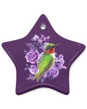 Hummingbird Purple Flower  Star ornament - single (porcelain) front