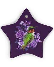 Hummingbird Purple Flower  Star Ornament (Wood) tile
