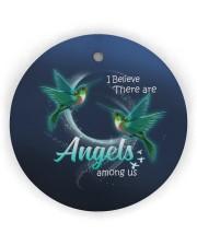 Hummingbird Angels Circle Ornament (Wood tile