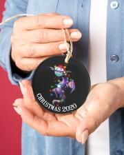 Dragon Christmas  Circle ornament - single (porcelain) aos-circle-ornament-single-porcelain-lifestyles-01