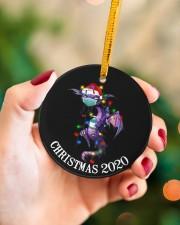 Dragon Christmas  Circle ornament - single (porcelain) aos-circle-ornament-single-porcelain-lifestyles-09