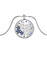 Butterfly My Mind Still Talks To You  Metallic Circle Necklace tile