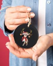 Chihuahua Christmas Circle ornament - single (porcelain) aos-circle-ornament-single-porcelain-lifestyles-01