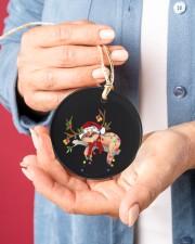 Sloth Christmas Circle ornament - single (porcelain) aos-circle-ornament-single-porcelain-lifestyles-01