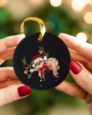 Sloth Christmas Circle ornament - single (porcelain) aos-circle-ornament-single-porcelain-lifestyles-08