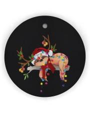 Sloth Christmas Circle Ornament (Wood tile