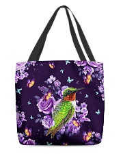 Hummingbird Purple All-over Tote back