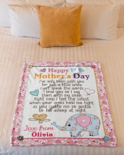 """Happy First Mother's Day Small Fleece Blanket - 30"""" x 40"""" aos-coral-fleece-blanket-30x40-lifestyle-front-04a"""