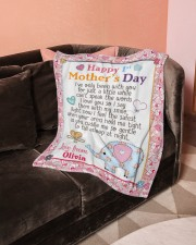 """Happy First Mother's Day Small Fleece Blanket - 30"""" x 40"""" aos-coral-fleece-blanket-30x40-lifestyle-front-05a"""