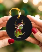 Parrot Christmas Circle ornament - single (porcelain) aos-circle-ornament-single-porcelain-lifestyles-08