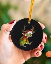Parrot Christmas Circle ornament - single (porcelain) aos-circle-ornament-single-porcelain-lifestyles-09