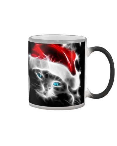 Santa Fractal Cat Lovers Mug - Christmas Gift
