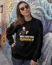 Why are you running - Design on 15 Products  Crewneck Sweatshirt lifestyle-unisex-sweatshirt-front-3