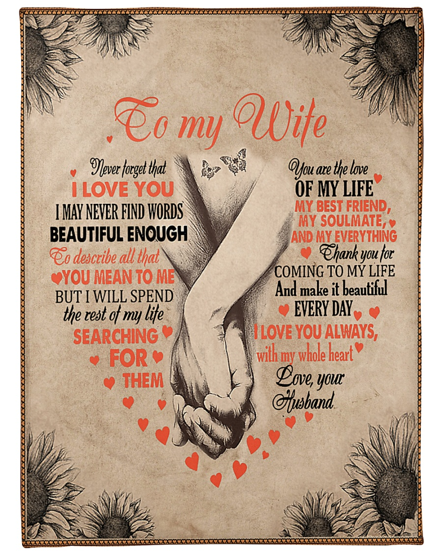 "To My Wife - Husband Large Fleece Blanket - 60"" x 80"""