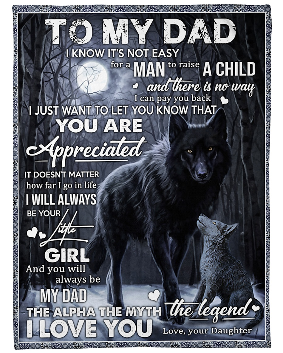 "To My Dad - Daughter Large Fleece Blanket - 60"" x 80"""