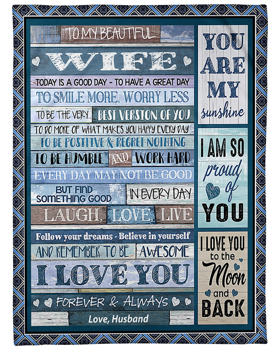 """To My Wife - Husband Large Fleece Blanket - 60"""" x 80"""""""