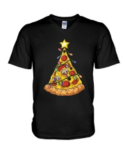Pizza Christmas Tree V-Neck T-Shirt thumbnail