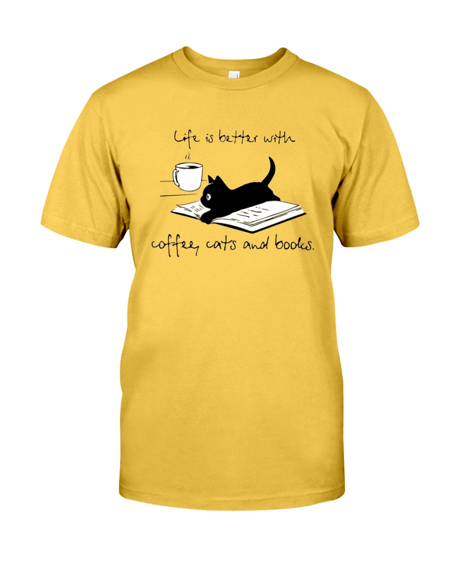 Coffee Cats and Books Classic T-Shirt
