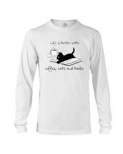 Coffee Cats and Books Long Sleeve Tee thumbnail