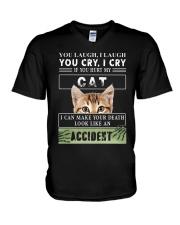 Don't Hurt My Cat V-Neck T-Shirt thumbnail