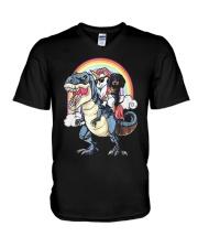 Dachshund Unicorn T rex V-Neck T-Shirt thumbnail
