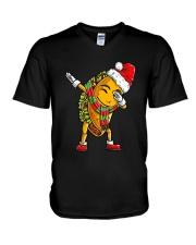 Dabbing Santa Taco Christmas V-Neck T-Shirt thumbnail