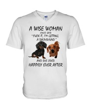 A Wise Woman and Dachshund V-Neck T-Shirt thumbnail