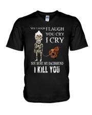 Don't Hurt My Dachshund V-Neck T-Shirt thumbnail