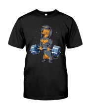 Dachshund Weightlifting Classic T-Shirt front
