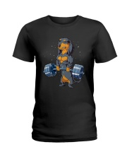 Dachshund Weightlifting Ladies T-Shirt thumbnail