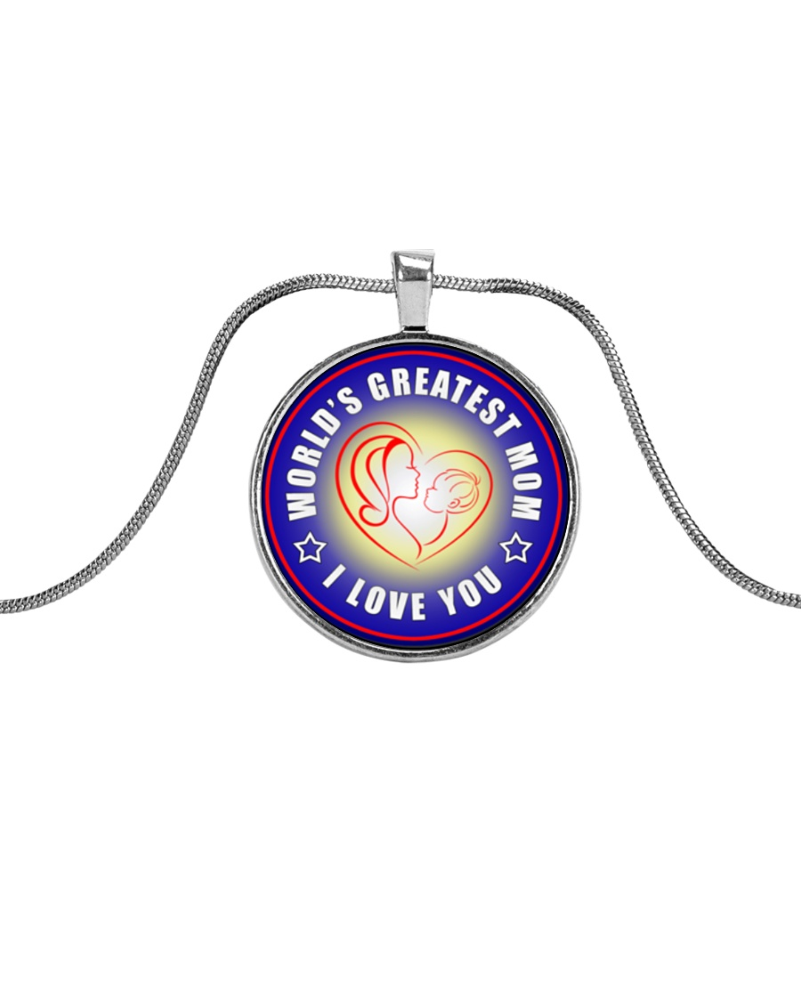 WORLD'S GREATEST MOM I LOVE YOU Metallic Circle Necklace