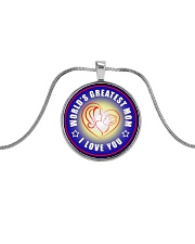 WORLD'S GREATEST MOM I LOVE YOU Metallic Circle Necklace front
