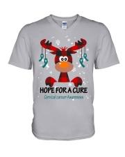 cervical-cancer-teal-white-hfac V-Neck T-Shirt thumbnail
