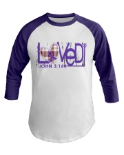 leiomyosarcoma-purple-loved Baseball Tee front