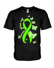 nonhodgkins-lymphoma-limegreen-never V-Neck T-Shirt thumbnail