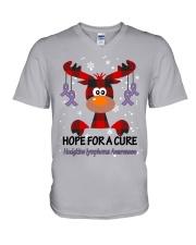 hodgkins-lymphoma-violet-hfac V-Neck T-Shirt thumbnail