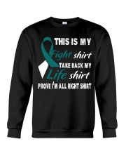 cervical-cancer-teal-white-myshirt Crewneck Sweatshirt tile