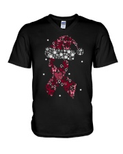 multiple-myeloma-burgundy-xmash V-Neck T-Shirt thumbnail