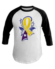 bladder-cancer-marigold-blue-purple-believe Baseball Tee tile